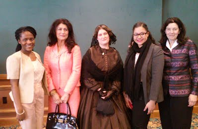Dior Manning (L) and Keyla Marte (4th from L) with presenters from AAUW's International Woman's Day event, March 8, 2015Day ev