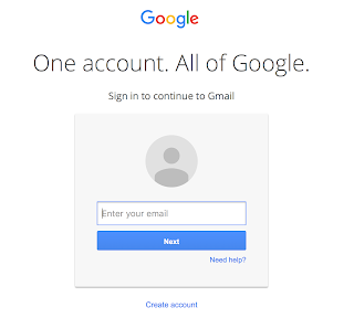 Image of Google login screen with enter email