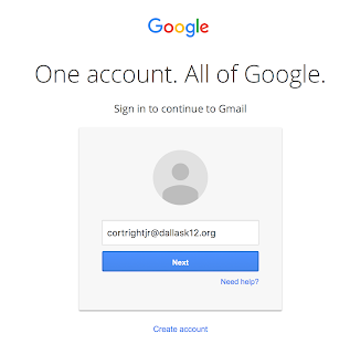 Image of Google login screen with email filled in.
