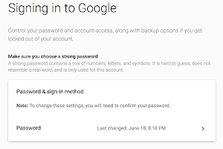 Image of Google screen to change password.