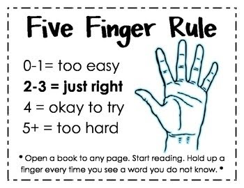 During Class We Took The 5 Finger Test And Found Our Just Right Books A DRA Level Developmental Reading That Isnt Too Difficult