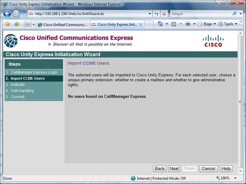 Cisco Unity Express accessing Call Manager Express