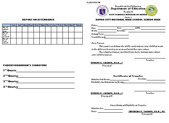 Deped form 138 for senior high school template