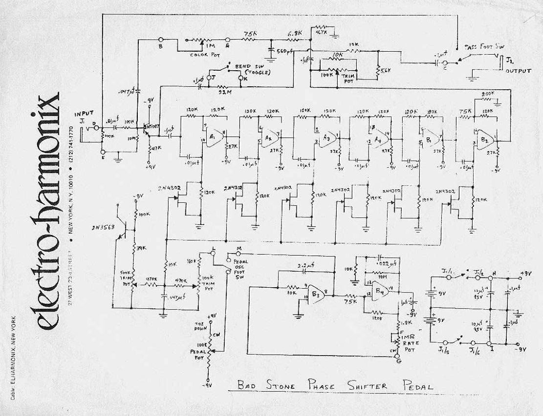 Electro Harmonix Bad Stone Davidmorrincom Easy Pedal Wiring Diagram Official Jfet Based Schematic This Appears To Refer A Wah Enclosure Type Note Pot Has Toe Down Marking