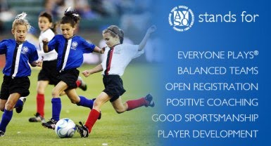 List of six AYSO philosophies: Everyone Players, Balanced Teams, Open Registration, Positive Coaching, Good Sportsmanship, Player Development