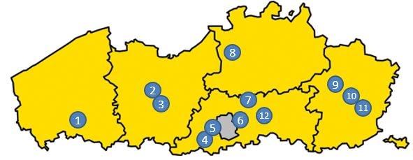 kaart vlaanderen Scholen van het DBOC gelocaliseerd op de kaart van Vlaanderen