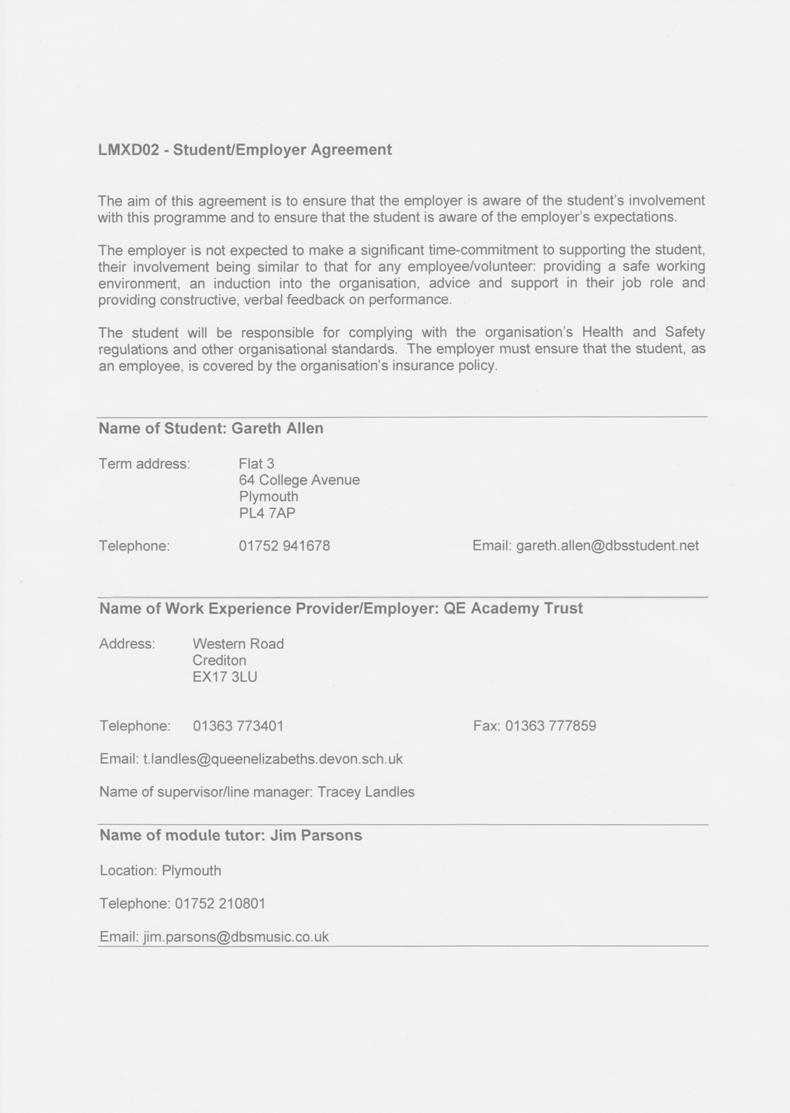 3 Student Employer Agreement Form Lmxd02 Work Based