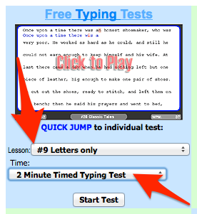 On The Testing Page You Will Need To Select Lesson 9 Letters Only And 2 Minutes For The Time