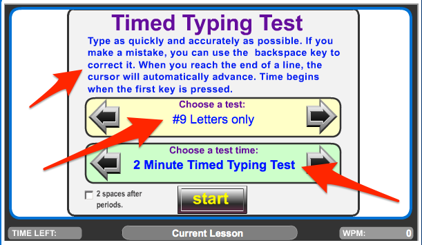 When You Get To The Timed Typing Test Page Take A Minute And Double Check That You Have The Correct Options Selected