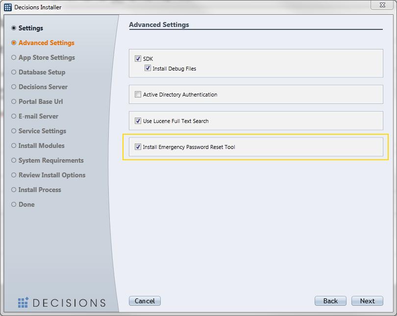 Password Reset Tool - Decisions Platform Documentation