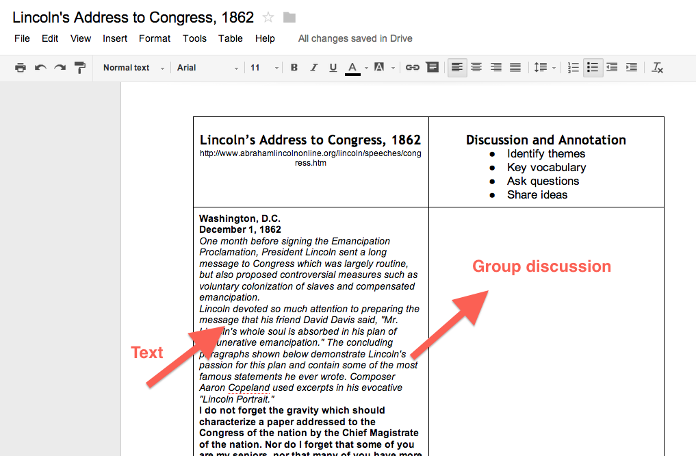 Collaborative annotations using google docs 10 ways to revamp create a table in google docs with 2 columns have students participate in a collaborative discussion of the text ccuart Image collections