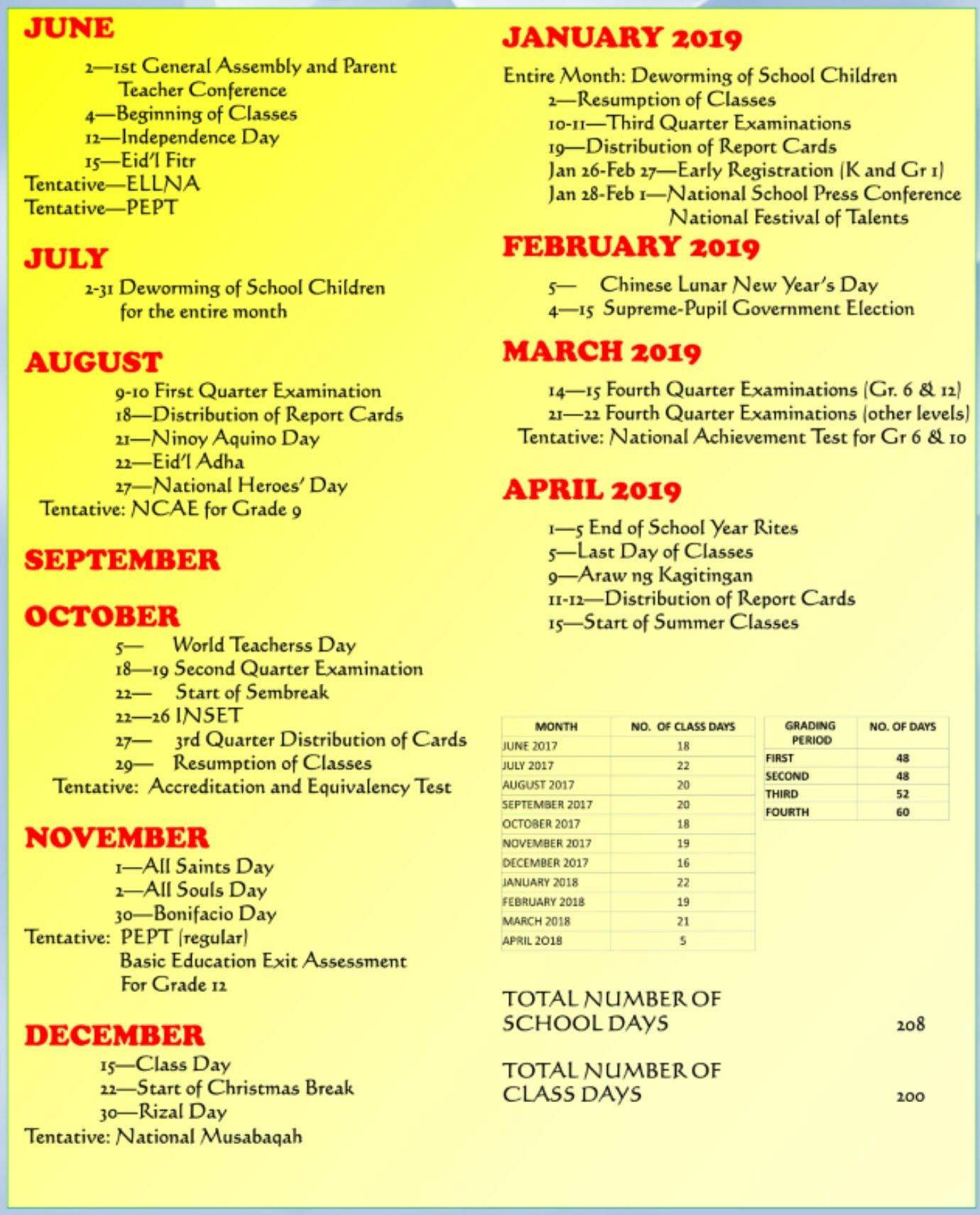 November 2017 - January 2019 Calendar School Calendar of Activities   SAN AGUSTIN ELEMENTARY SCHOOL