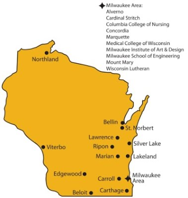 Image result for wi private colleges map