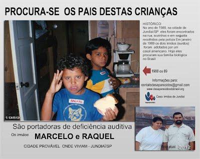 Surdo mudos irmãos Marcelo e Raquel Desaparecidos do Brasil