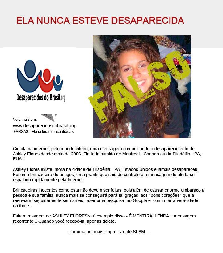 Ashley - falso desaparecidos do brasil