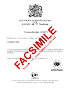 Certificato Incorporazione (Costituzione) UK Ltd