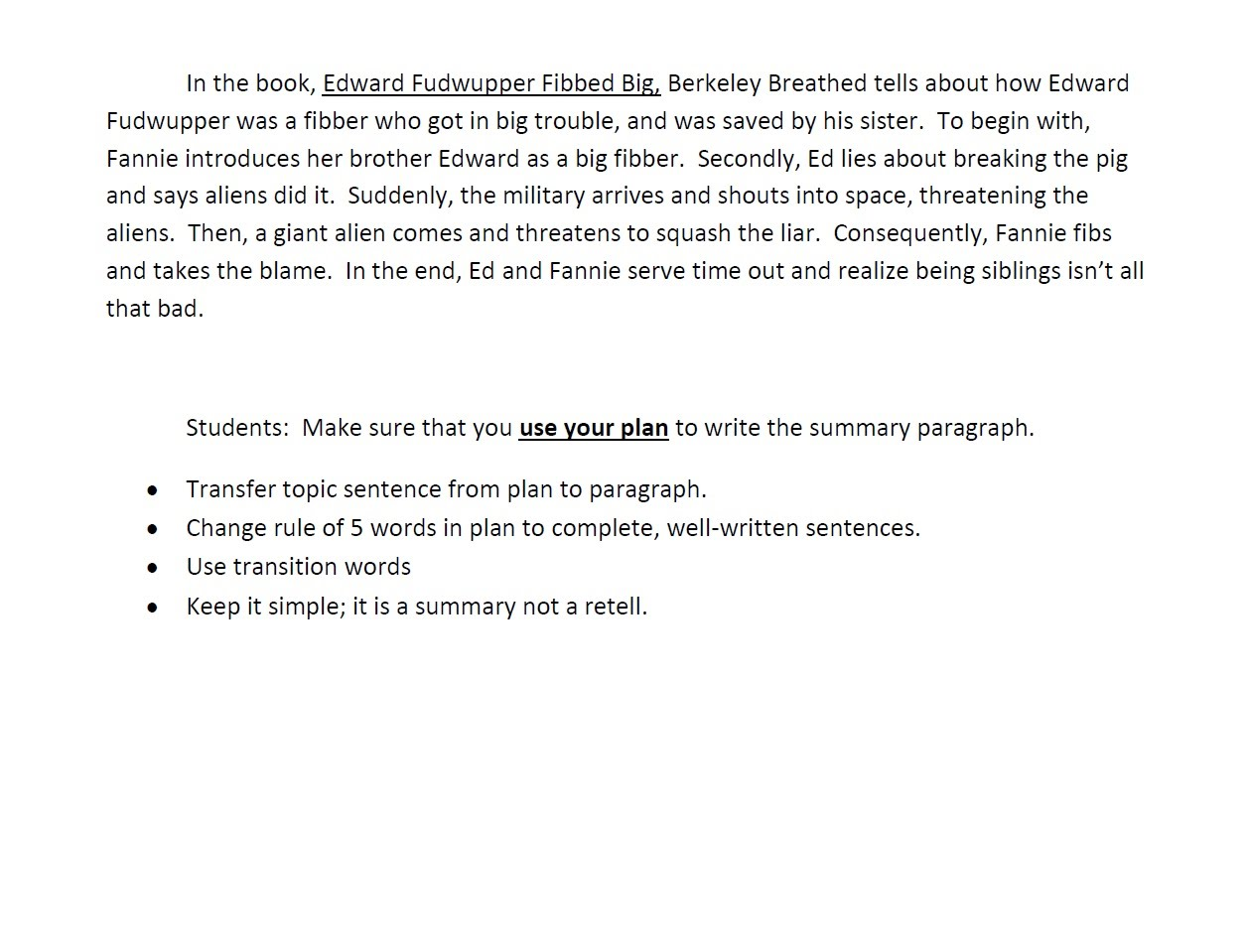 How to writing a summary paragraph sample