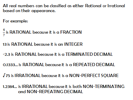 Rational vs. Irrational Numbers - Mr. Thompson
