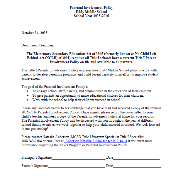 Parent involvement policy 2016 eddy middle school for Parent involvement plan template