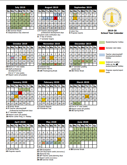 Doe Calendar 2020 16 Eddy Middle School