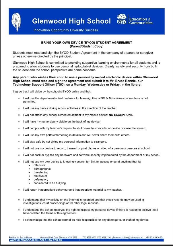 Student Agreement Form Byod Ghs For Students
