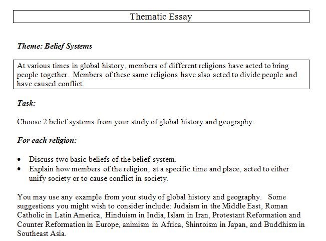 Thematic Essay On Belief Systems