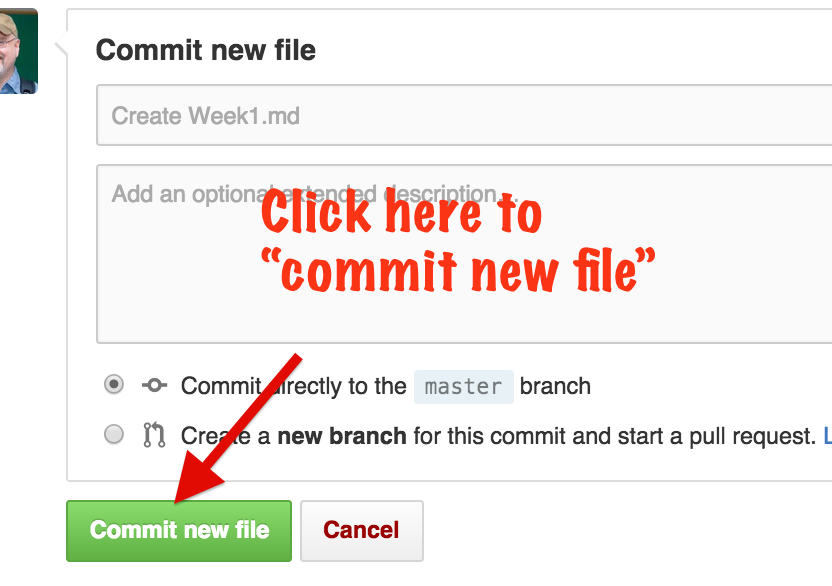 click here to commit a new file