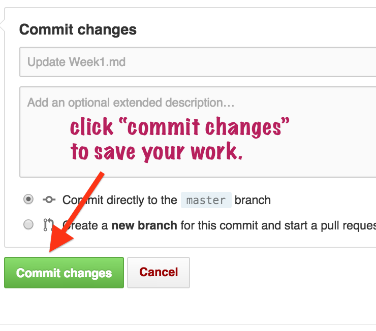 click commit to save your work