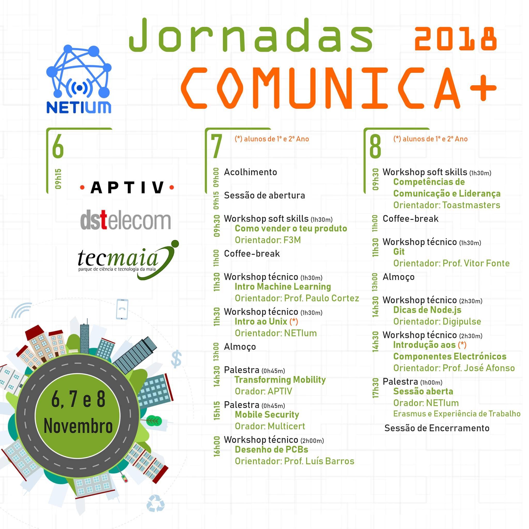 Programa das Jornadas Comunica+ 2018