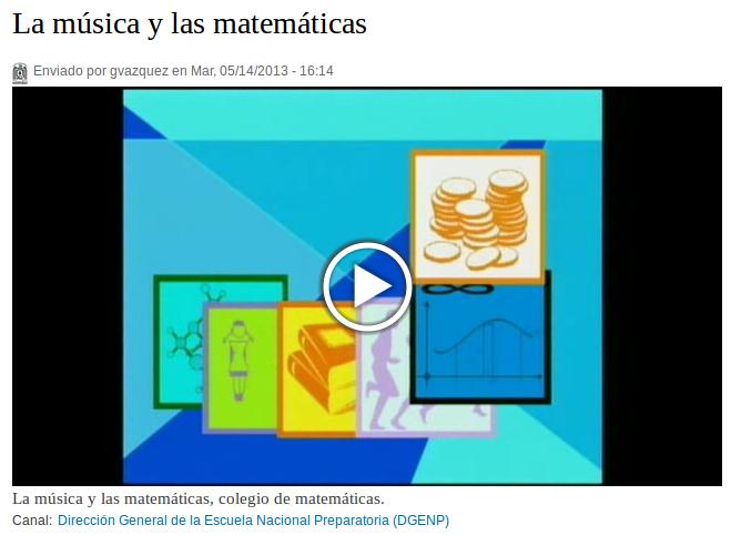 Video Matemáticas y la Música