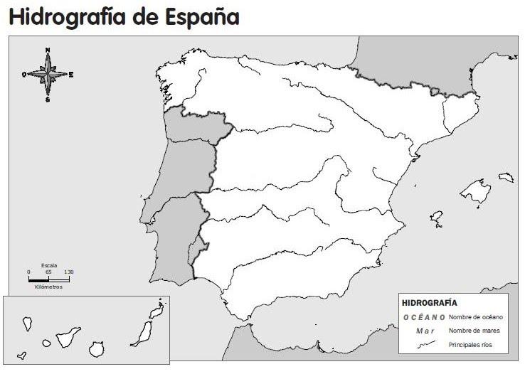 Mapa De España Mudo Rios Para Imprimir.Mapa Rios De Espana Mudo Mapa