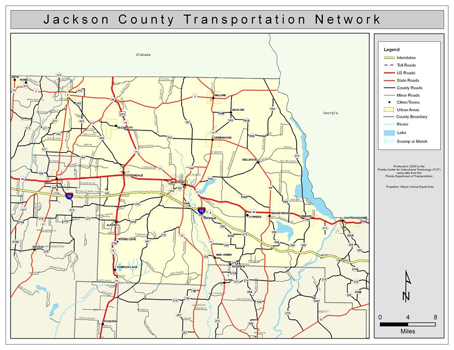 georgia map with county lines Populated Places   Jackson County FLGenWeb