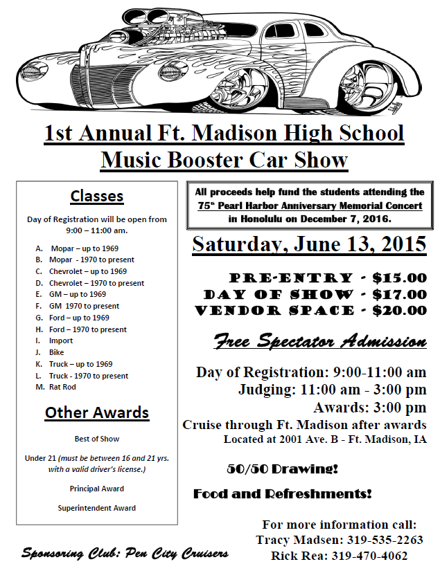 FMHS Car Show Ft Madison Band Department And Shooting Sports - Car show award categories
