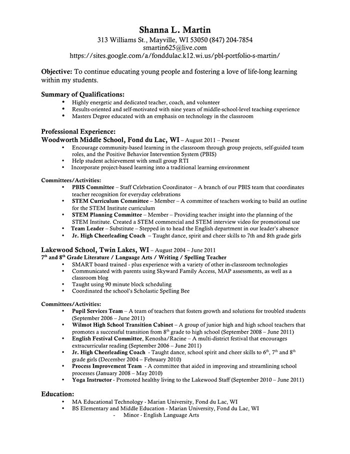 Resume Pbl Portfolio Shanna Martin