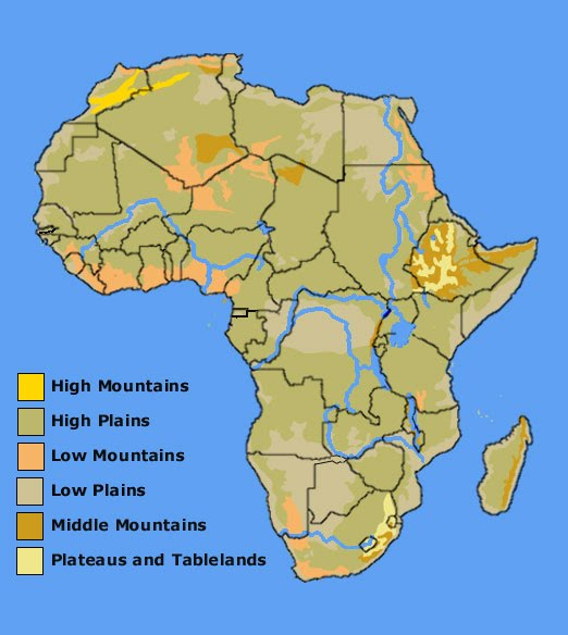 Africa Continent Study Nwagnerorg - Africa altitude map