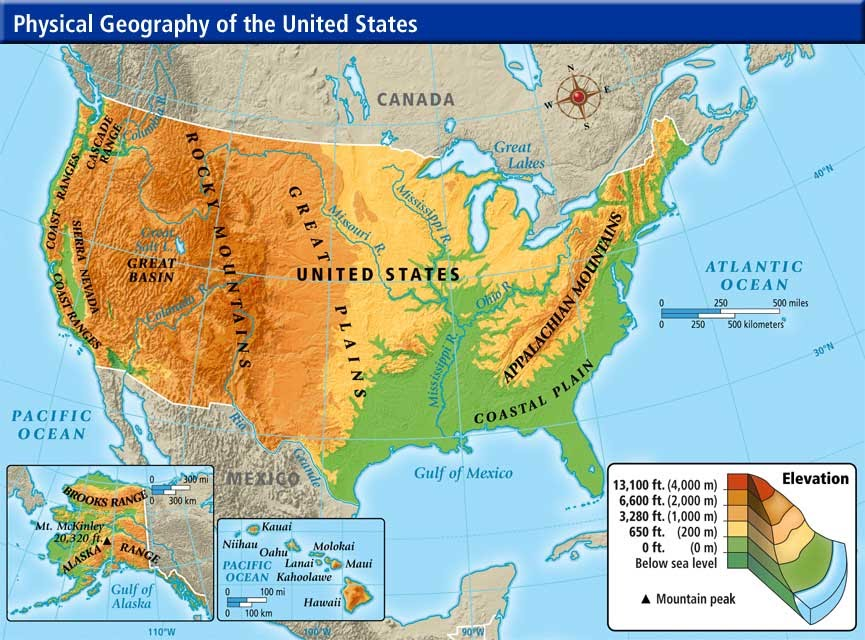 AmericaContinent Study Nwagnerorg - Physical features of canada and the united states