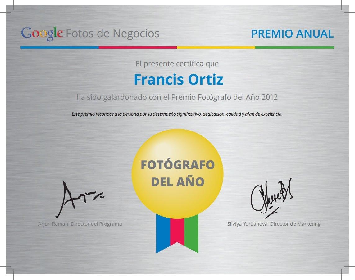 Francis Ortiz Fotógrafo Google del año 2012