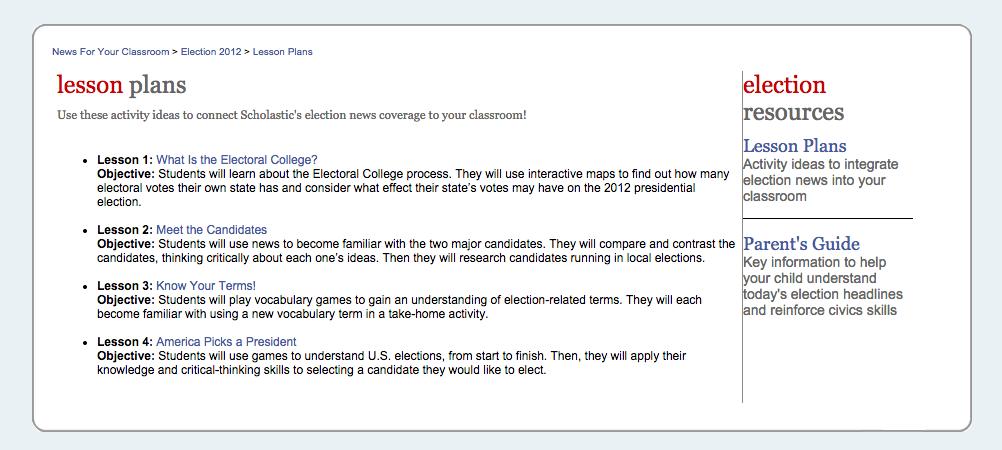 http://magazines.scholastic.com/Election-2012/lesson-plans