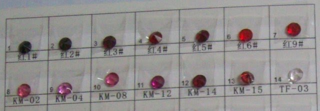 Red Glass Stones Color Chart
