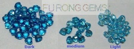 Cubic Zirconia Aquamarine Topaz blue Color variations