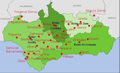 Ciudades con comunidades jesuitas en Andalucía en 1767