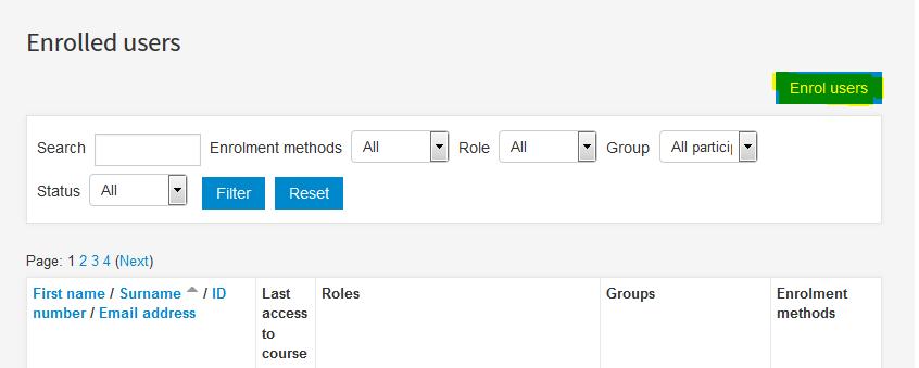 Enrol users option