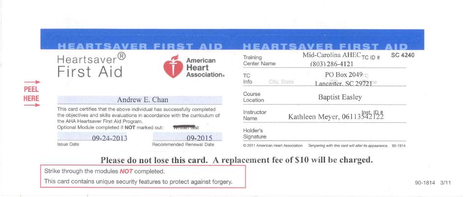 AHA First Aid/BLS - Andrew E. Chan