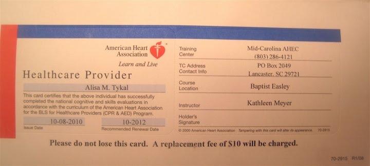 AHA Basic Life Support Certification - Alisa Tykal