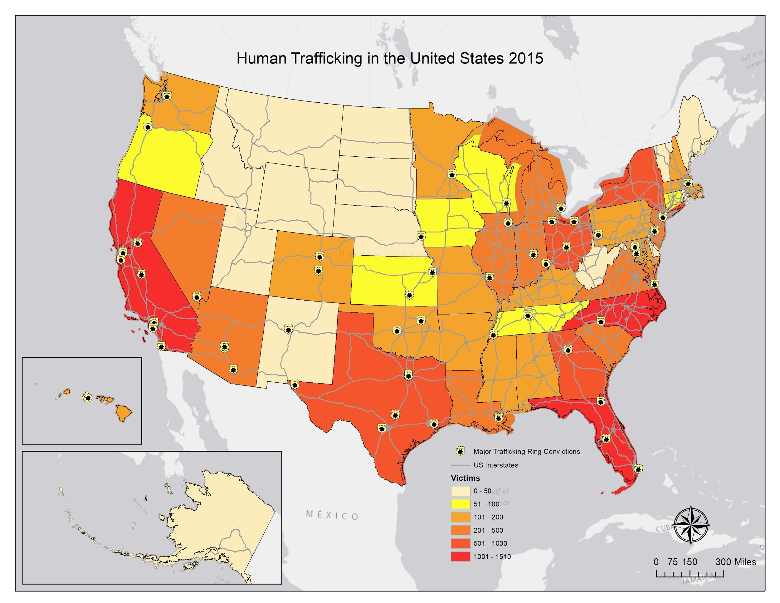 Map Of Human Trafficking In Us Human Trafficking Trends   GIS for Public Health