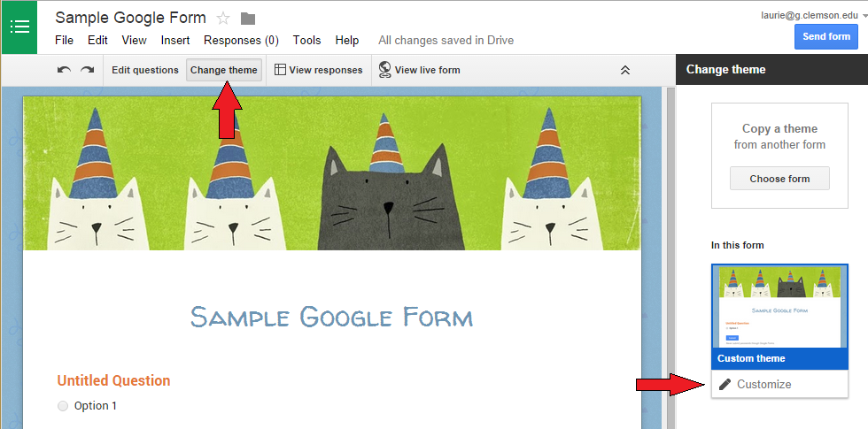 Google Forms Edit Theme - Laurie's Training