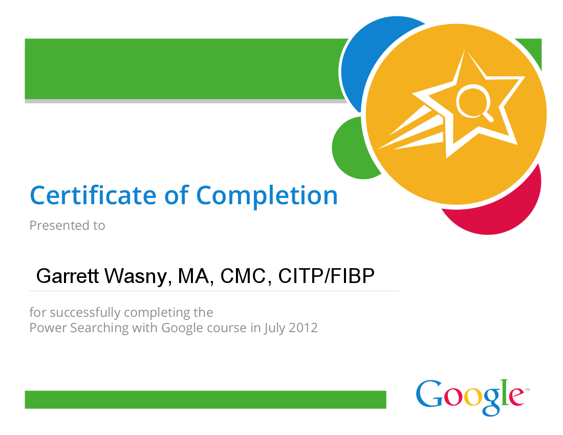 Garrett Wasny Power Searching With Google Course Certificate Of