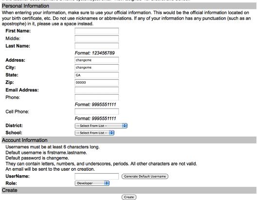 Creating an Edit User for Development or Blended Pilot