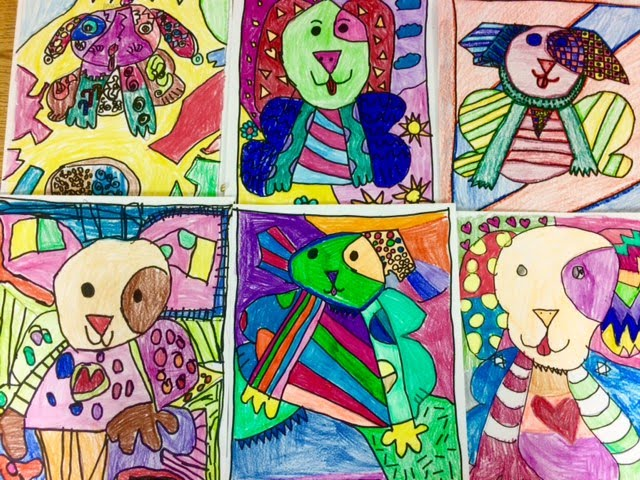 Romero Britto inspired pets completed by $th graders at Big Cross Street School for Original Works. Bravo!!!!
