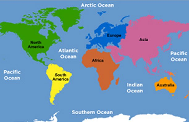 Map Of The World With Oceans And Continents Blank Map Of
